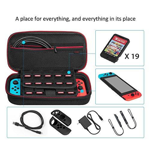 Funda para Nintendo Switch – younik Versión mejorada Viaje rígida Case con más Espacio de almacenamiento para 19 Juegos  oficial adaptador de AC y otros accesorios Nintendo Switch