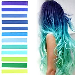 Best Green Blue Hilary Duff Ombre Hair Dye Set of 12 Chalks | SEAFOAM MERMAID Hair Chalk | With Shades of Ocean Blue, Turquoise, Mint and Green Pastel Set of 12 Hair Color | Color your Hair Blue Green Ombre in seconds with temporary HairChalk