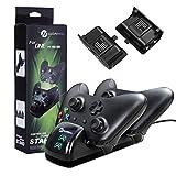 Cargador Controlador Xbox One, slopehill Doble Estación de Carga Cargador Rápida con 2 Baterías Recargables de 1200mAh, Reproducción de 35-40 horas para Controladores Inalámbricos Xbox One/S/Elite/X