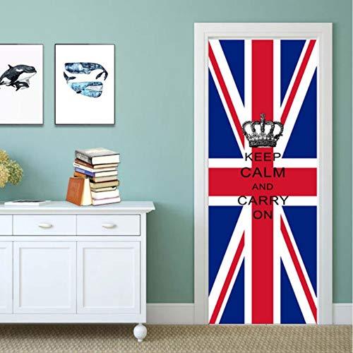 Pandaboom 3d bandiera britannica porta adesivo murale autoadesivo adesivo per camera dei bambini camera da letto armadio porta rinnovare decalcomania 95x215cm
