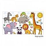 nikima 080 Wandtattoo Tiere Kinderzimmer Elefant Löwe Giraffe - in 6 Größen - Niedliche Kinderzimmer Sticker und Aufkleber Süße Wanddeko Wandbild Junge Mädchen Größe 1000 x 560 mm