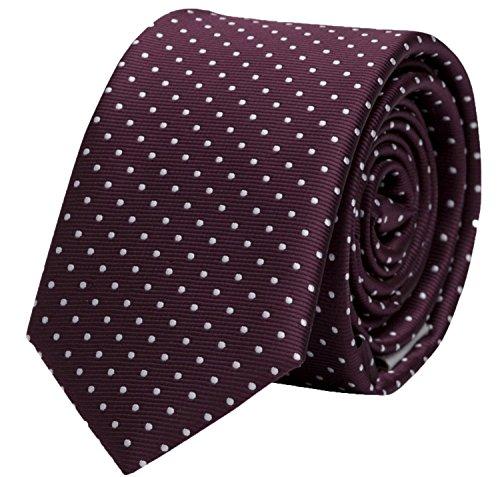 Seidenweiche Fabio Farini Krawatte 8 cm in verschiedenen Farben, Dunkelrot mit weißen Punkten
