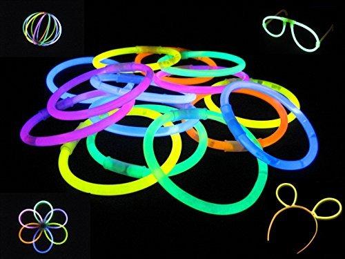100 Knicklichter, Glow Sticks, Leuchtsticks+5 Leuchtbrille+5 Leucht Haarreifen+100Konnektoren+Kreisverbinder