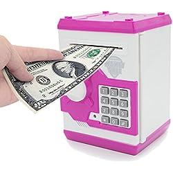 APUPPY Hucha electrónica, con caricatura, contraseña, cerdito, hucha de monedas, juguete, regalo de cumpleaños para niños, Rosa y blanco