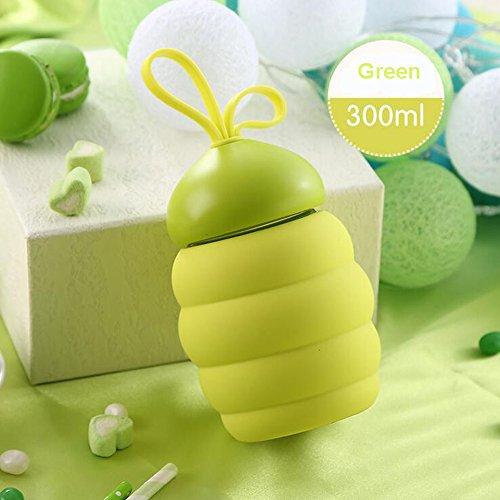 YoHom botella de agua de vidrio 300ml, antideslizante manga de silicon