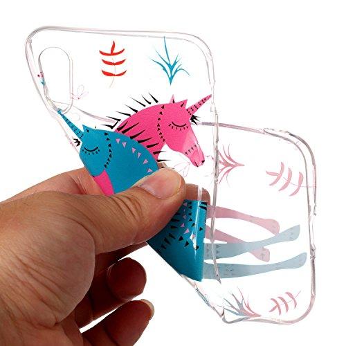 inShang iPhone X 5.8inch custodia cover del cellulare, Anti Slip, ultra sottile e leggero, custodia morbido realizzata in materiale del TPU, frosted shell , conveniente cell phone case per iPhone X 5. Couple unicorn