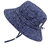 Twinklebelle UV-Schutz-Sonnenhut aus Baumwolle fürs Kleinkind (Junge) 50 UPF, Kordelzug verstellbar, zum Verstauen geeignet (Mittel / 6-30 Monate, Eimer Hut: Navy Wellen)