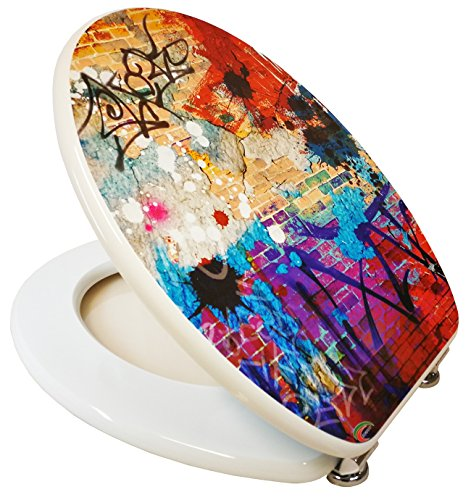 Design Toilettensitz / Toilettendeckel / WC Sitz / Hochwertige Qualität in der Farbe Weiß mit einem Abstrakten Muster / Mehrfarbig