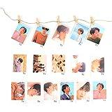 Yovvin BTS Banner KPOP Bangtan Jungen Love Yourself: Tear Fotokarten | 16 Stück Photocards + 5 Stück Holzclip + 1 Stück 2M Seil | Beste Sammlung für The ARMY (Style 02)