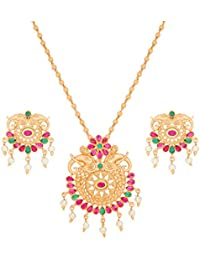 The Luxor Traditional Gold Plated Temple Jewellery Bahubali Necklace Set For Women And Girls(NK-2122)