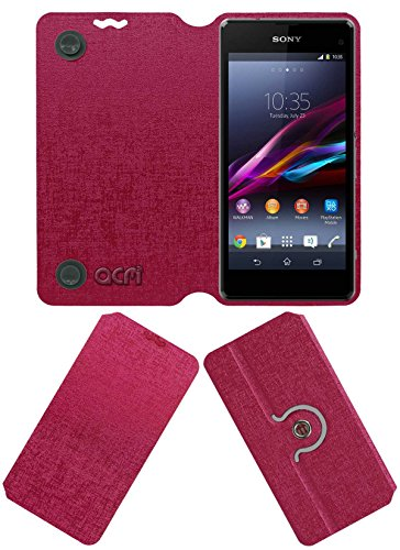 Acm Designer Rotating Flip Flap Case for Sony Xperia Z1 Compact Mobile Cover Pink  available at amazon for Rs.399