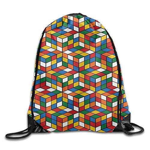 Rubik's Cube 3D Design Drawstring Gym Bag