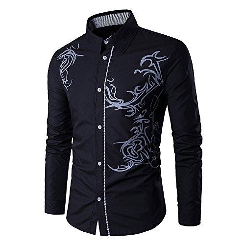 Uniqstore Camisa de Vestir con Estampado de dragón de Hombre (Negro, L)