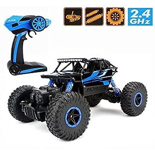 Ferngesteuertes Auto,1:18 Elektronisch RC Rock Crawler Auto 2.4Ghz 4WD Ferngesteuertes Truck hohe Geschwindigkeit RC Geländewagen mit wiederaufladbare Batterien Buggy Truggy Rennwagen(Blau)