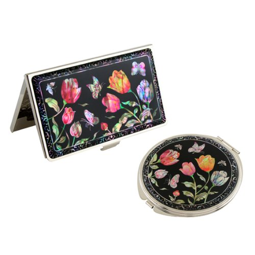 Set Miroir de Poche + Porte cartes de visite Nacre Collection Fleur Corée TULIPE