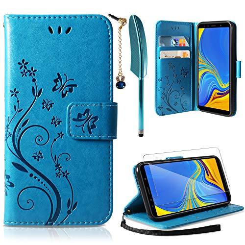 AROYI Samsung Galaxy A7 2018 Flip Hülle Galaxy A7 2018 Wallet Case Schmetterling Handyhülle Leder Tasche Schutzhülle für Samsung Galaxy A7 2018 Blau