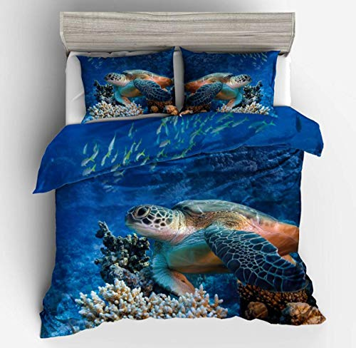 GONGFF Bett 3D Turtle in The Sea Gedruckt Bettbezug Bettwäsche Set Gotik Quilt Bettbezüge für Jugendliche Erwachsene, USQueen225 * 225cm / 50 * 75cm * 2 -