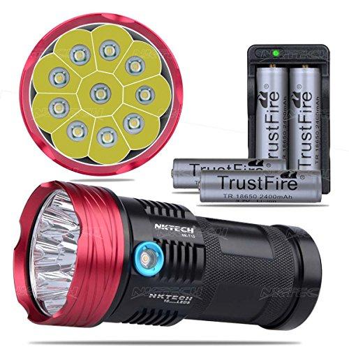 nktech Super Hell nk-t1010x T6LED 3-modes Taschenlampe Taschenlampe für Wandern Jagd Camping U2Fahrrad Scheinwerfer Scheinwerfer + 4x Trustfire 2400mAh 18650Akku + Dual Charger