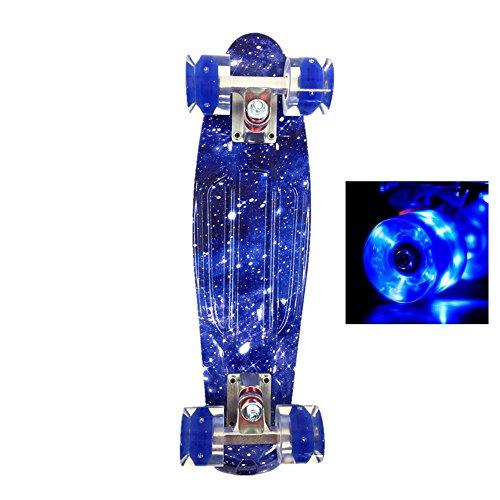 Wonnv Monopatín LED Mini Cruiser 22 inch Retro Skateboard