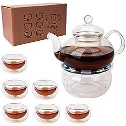 ez-buy 8in1Tee Set 6doppelwandigen Tassen Filterung Borosilikatglas Teekanne mit Stövchen, Sieb,-Ei (transparent) (8in 1Tee-Set)