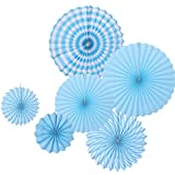 6 Pcs Tissue Paper Fan Paper Flowers for Birthday Party Wedding Decoration (Blue)