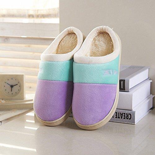 Interni Homee Scarpe Casa In Inverno Calde Spessore Antiscivolo Coppia Piano Pantofole B Cotone Stessi Di Legno rqpw7r