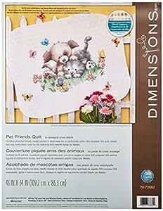 Dimensions Kit Point De Croix Imprimé, Couverture Amis Animaux