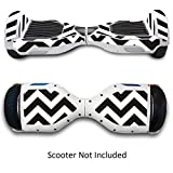 Skin for Self Balancing Scooter Stickers for Scooter Electric Hoover boards Skateboard Decal for Self Balance Electric Skateboard Bluetooth - Cover Fit Real 2 Wheel Scooter - Case Stickers for Motorized Longboard Drifting Boards - Black Chevron