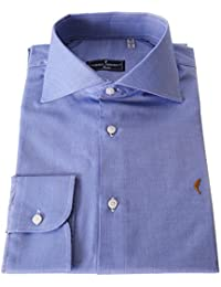 DOMENICO AMMENDOLA Camicia Gold Celeste Scuro, Collo Francese, Made in Italy