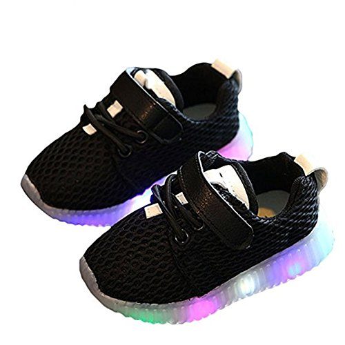 LED Schuhe Kids Light shoes, Stillshine – Junge Girls blinken Sport Running Sneaker Baby shoes Halloween Christmas Gift (24, Schwarz)