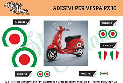 sticker mimo Adesivi Stickers Vespa Kit Piaggio Vespa Bandiere Italia Cerchio