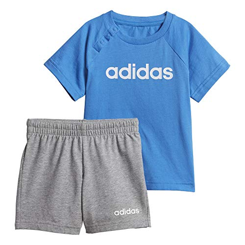 adidas Jungen Linear Sommer-Set, True Blue/White, 98