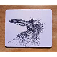Hare Mousemat - Mousepad - Hare Gift - Computer Mat - Black- White - Contemporary - Animal - Wildlife - hayley mills art - mothers day