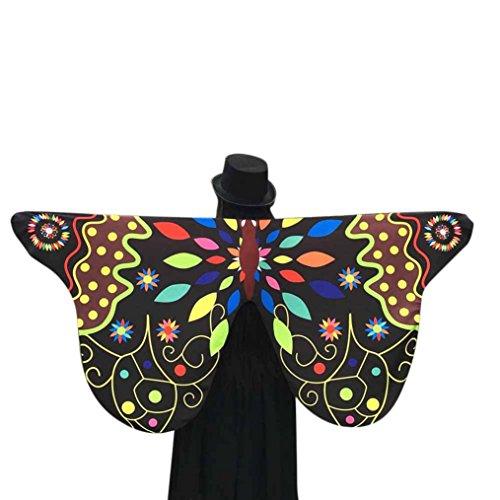Schal mit Schmetterlingsflügeln, weicher Stoff, Schmetterlingsflügel, Schal für Damen, Nymphe, Pixie-Kostüm-Accessoire Einheitsgröße Schwarz