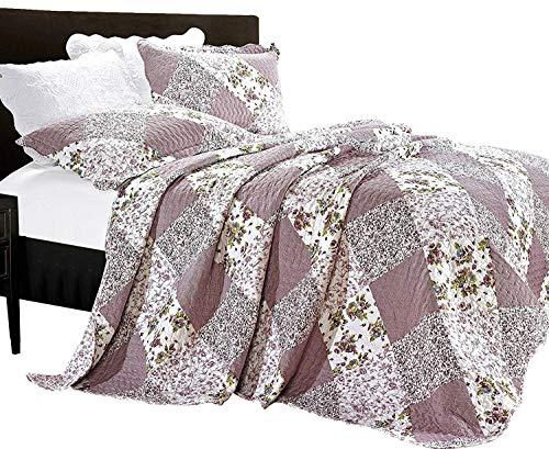 Luxus Blumen 3 Stück Gestepptes Vintage-Patchwork Tagesdecke, Reversibel Embroidered Tröster Set, Bed Throw Mit Kissenbezug (King Size, Orchidee)