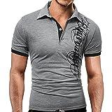 Leey Mode Hommes T-Shirt Couleur Pure Lettre Imprimer Manches Courtes Col Rond Bouton...