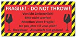 12 Stück Aufkleber Vorsicht zerbrechlich DIN lang (210 x 98mm) Folienaufkleber (Auf-525) Bitte nicht werfen