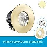 Isolicht Einbaustrahler für Feuchtraum & Bad / Aussen - warmweiss (LED Einbauleuchte IP65 rund, gold inkl. 5W GU10 LED, warmweiss)