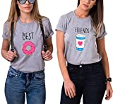 Ziwater 2 Stücke Best Friends Partner T-Shirt Lustige Passende Kurzarm Für 2 Damen mit Aufdruck Kaffee und Donut M+Friends-M, Grau