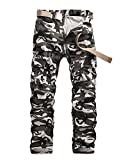 Quge Herren Camouflage Hose Military Arbeitshose Cargo Casual Pants Militär Camo Weiß 36