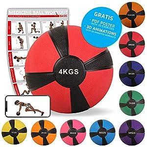 POWRX Medizinball Gewichtsball 1-10 kg | versch. Farben (4 kg/Rot)