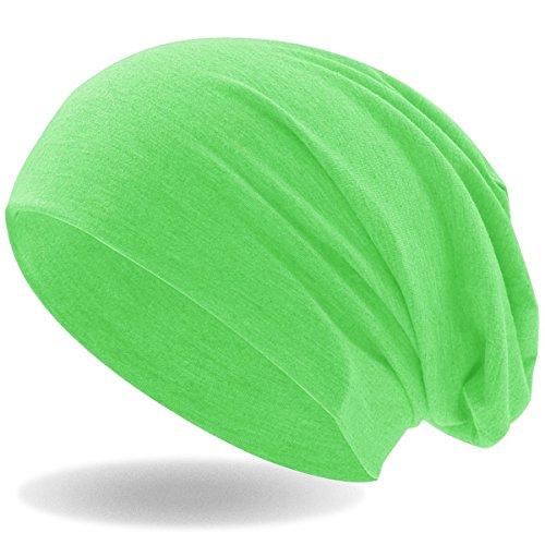 ersey Slouch Long Beanie Mütze, leicht und weich, Reversible Bicolor für Damen und Herren (Neon Grün) ()