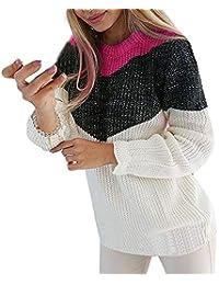 Felicove Damen Mode Kaschmir Pullover /übergro/ße Lose Langen /Ärmeln O-Ausschnitt Fledermausfl/ügel Herbst und Winter Warm Strickpullover L/ässige O-Neck Patchwork Langarm Strickbluse