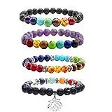 JOVIVI 4x Lava-Armband Reiki-Energietherapie Yoga-Armband 7 Stein Chakra Healing Balance