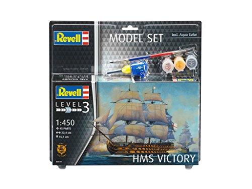 Revell Modellbausatz Schiff 1:450 - HMS Victory im Maßstab 1:450, Level 3, originalgetreue Nachbildung mit vielen Details, Segelschiff, Model Set mit Basiszubehör, 65819