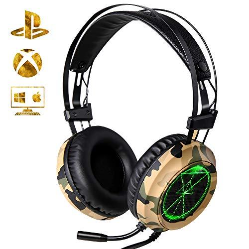 Xtrike-me Gaming Headset ACTOPP Camouflage Gaming Kopfhörer mit Mikrofon LED 3.5mm Noise Cancelling Leicht Over Ear Headset Soft Memory Ohrenschützer kompatibel für PC Laptop Mac Handy PS4 Xbox One