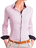 Damen Figurbetonte Langarm Bluse Business Hemd Tailliert mit Punkten (533), Farbe:Rosa, Größe:Small
