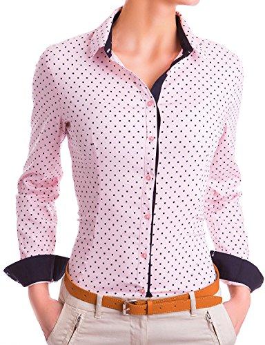 Damen Figurbetonte Langarm Bluse Business Hemd tailliert mit Punkten (533), Farbe:Rosa, Größe:Medium