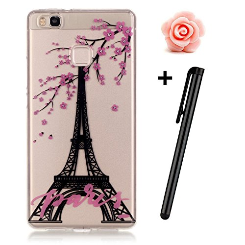 Preisvergleich Produktbild Huawei P9 Hülle,Huawei P9 Case,TOYYM TPU Hülle Schutzhülle Crystal Case Silikon Transparent Hülle Eiffelturm Muster Anti-Kratz Zurück Case Cover für Huawei P9