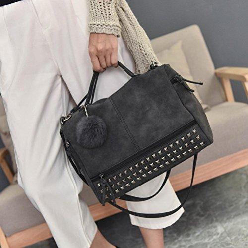 Longra Sacchetto di spalla di grande borsa del rivetto dellunità di elaborazione di colore solido Nero